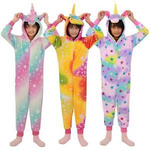 Kids Girls Unicorn Stars Print A2Z Onesie One Piece Soft Fluffy Kigurumi Costume