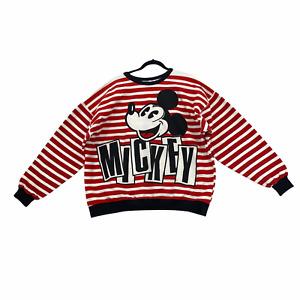 Vintage Disney Sweatshirt Crewneck Red White Striped Mickey & Co. Womens Size XL