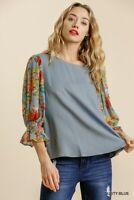 Umgee Linen Blend Floral Print 3/4 Cuffed Ruffle Sleeve Top Size S M L
