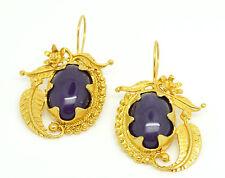 Ottomangems Semi Piedra Preciosa Ágata de pendientes de oro plateado artística hecha a mano