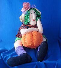 "Halloween fabric witch resting on pumpkin doll door draft blocker 34"" leg span"