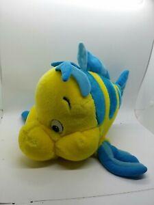 """VINTAGE Disney Parks The Little Mermaid FLOUNDER FISH 13"""" Plush STUFFED ANIMAL"""
