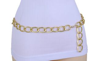 Women Elegant Fashion Shiny Gold Color Metal Chain Textured Link Belt Fit M L XL