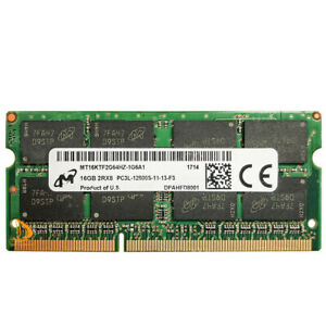 Micron 16 GB 2RX8 PC3L-12800S DDR3-1600Mhz 1.35V Laptop SO-DIMM RAM Memory 16GB