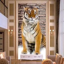 Mural Wallpaper Non-woven 3D Tiger Entrance Corridor Backdrop Waterproof Sticker