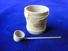 "Miniature Unfinished Wood Pail w/thread Handle & Ladle 1 1/4 x 1.5 """