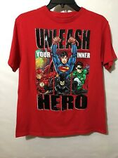 Justice League Unlimited Boy's XXL (18) , Red T-shirt Graphic Design