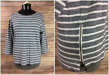 J Crew Womens M Gray White Striped Boatneck Collar Stretch Zipper Sides Shirt