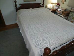"""VINTAGE Hand Crocheted COTTON Floral Block TABLECLOTH or BED COVER  - 80"""" x 82"""""""