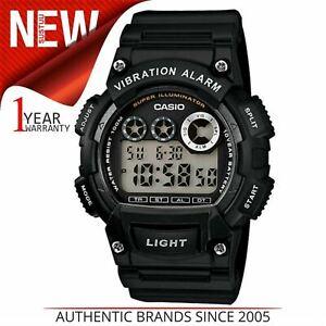 Casio W735H/1A Men Digital Watch Waterproof Stopwatch Vibration Alarm Dual Black