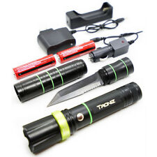 Tactica LED Flashlight w/ Blade Knife Survival Home Outdoor Camping Hunting