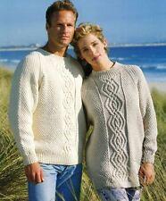 9008b5acc484 Knitting Pattern Lady s Men s Aran Interlocking Cable Raglan Tunic   Sweater (40)