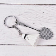 Mini Badminton Racket Ball Sports Keyring Keychain Holder Bag Pendant Charm M TK White