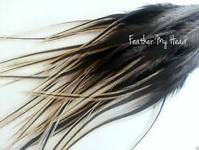"16 Natural BADGER Wide Feather Extensions With Fluff Extra Long  7""-9+"""