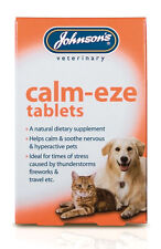 Johnsons CalmEze Tablets Stress Nerves Thunder Fireworks for Cats and Dogs x 36