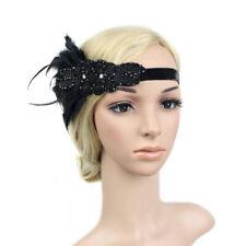 Accessoires Gatsby des Ann/ée 1920 Costume pour Femme daccessoires Flapper Bandeau Flapper Serre-t/ête Plume Noire Panache Bandeau