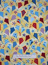 Nautical Fabric - Weekend Retreat Kite Pinwheel Toss Yellow - Henry Glass YARD