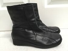 CLARKS 39/UK6 Black Leather Ankle Boots Small Wedge Flat Heel