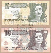 Israël 5 & 10 shekels 2015 UNC SPECIMEN TEST NOTE billet Set-Ziva David NCIS