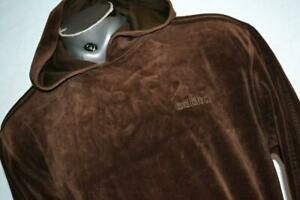 27064-a Mens Rare Adidas Hoodie Pullover Velour Size XL Brown