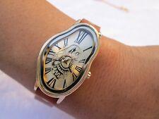 Women's Genuine Leather double wrap bracelet Gold Dali Soft Melting Wrist watch
