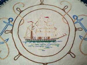 Amazing Sailing Ship/Anchor/Ships Wheel  Vintage Hand Embroidered Centrepiece