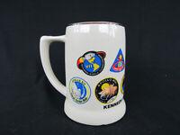 Vtg NASA Kennedy Space Center Florida Apollo Mission Badges Coffee Mug 1982 New