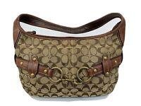 Coach 11275 Signature Shoulder Bag Purse Leather trim