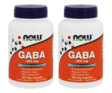 2 Bottles NOW Foods GABA 500 mg B-6 2mg - 100 Caps, Made In USA FREE US SHIPPING