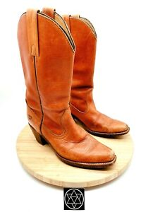 Vintage 90's Frye Womens 7085 Brown Leather Western Riding Cowboy Boots Size 8 B
