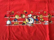 Peanuts Snow Scene Snow Man XL Charlie Brown Lucy Linus Christmas Woodstock