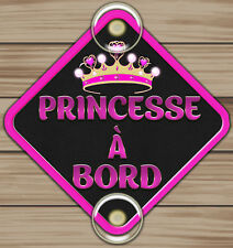 Panneau Signalétique Bébé A Bord en aluminium Fixation Ventouse Princesse