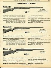 1962 Print Ad of Springfield Model 187 850 & 120 .22 Rifle