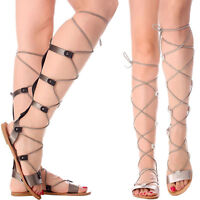 New Women Open Toe Strappy Cage Stud Leg Wrap Lace Up Gladiator Flat Sandal Shoe