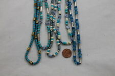 5 Necklaces with Matching Bracelets Beaded Jewelry Sets Lot Teal Silver Blue