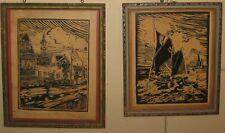 Vintage 1936 'Back Street PROVINCETOWN' & 'Fishing Boat' BARRIE BURTON Woodcuts