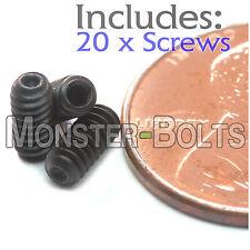 "#4-40 x 1/4"" - Qty 20 - Socket SET / GRUB SCREWS Cup Point - Black Alloy Steel"