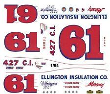 #61 Hoss Ellington 1967 Mercury 1/64th Ho Scale Slot Car Waterslide Decals