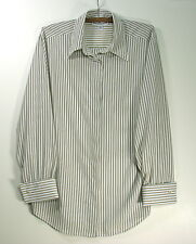 Women's 10 Blouse by Eva Laurel Tan & White stripe Long sleeve 100% Poly, Beiges