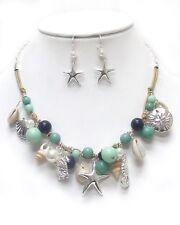 Sea Turtle Starfish Seahorse Pearl Bead Shells Necklace Earrings Fast Ship USA