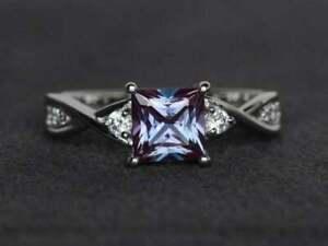 2Ct Princess Cut Alexandrite Diamond Solitaire Wedding Ring 14K White Gold Over