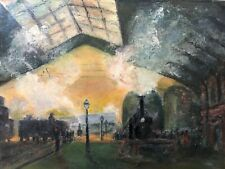 👀 Antique Impressionist Oil Painting of Railway Station Trains - Mystery Signed