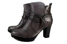 e2c5bf7e11e3 Elegante Damen Boots Frühling Stiefeletten Stiefel Gr.36-41 A463 Grau  SuperMe