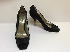 Guess Women's Dressy Black Open Toe Pleated Satin Shoes with Leather Soles 10M