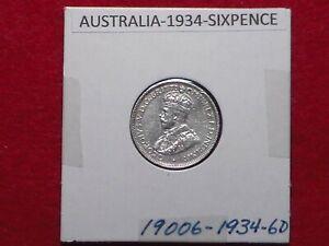 AUSTRALIAN - 1934 SIXPENCE - PREDECIMAL COIN. Silver 92.5%.