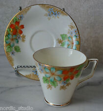 DELPHINE Bone China 2 pc TEA CUP SET - pat. 1951 FLOWERS Art Deco Style