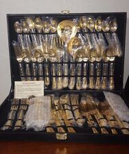 63 Pieces WM Rogers & Sons Gold Plated Flatware For 12  In Case