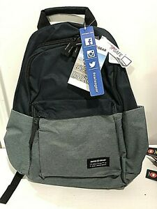 Swiss Gear Backpack Blue Book Bag Laptop Safe Shoulder Straps Navy & Grey New