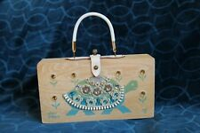 New listing Vintage 1964 Enid Collins of Texas Slow Poke Ii Wood Purse Hand Bag
