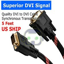 DVI to DVI Cable Gold Plated Monitor Nylon Braided Cable Adapters 5 Feet